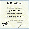 A mock certificate award in Content Strategy
